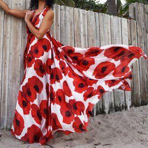 "IR ""Hot Poppy"" Designer Maxi Dress"